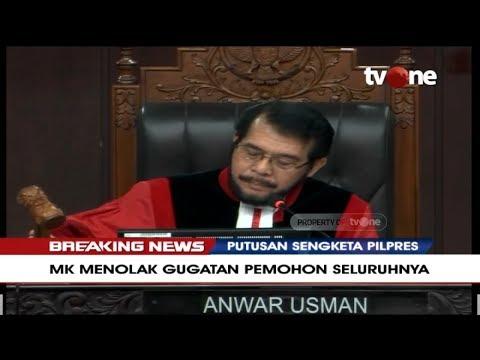 Detik-detik Ketuk Palu, MK Tolak Gugatan Prabowo-Sandi