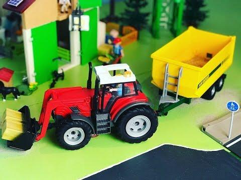 Playmobil Bauernhof 70132, Traktor, Bauernhaus, Hofladen Fahrzeug, Tiere - Kinder Spielzeugwelt