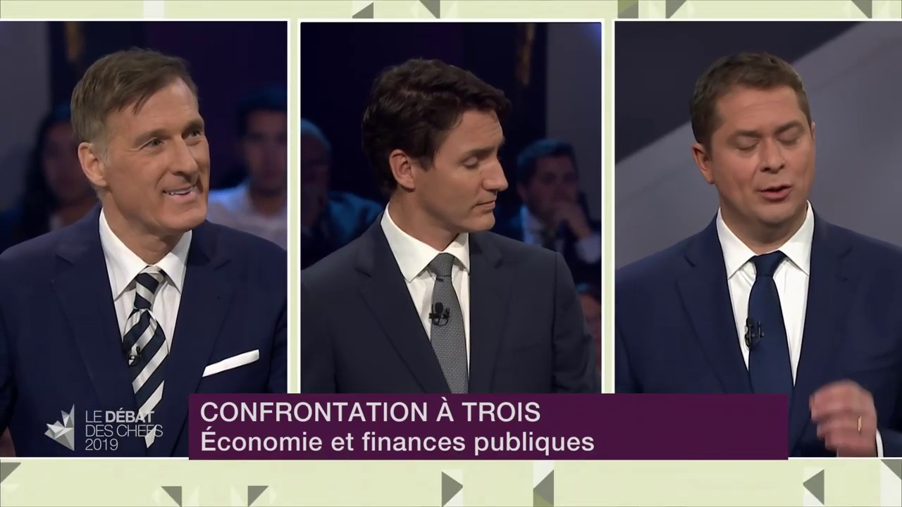 Andrew Scheer, Justin Trudeau and Maxime Bernier debate public finances