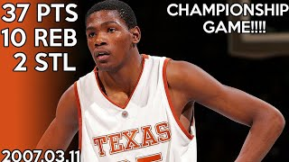 Kevin Durant College Highlights vs Kansas for Big 12 Championship (2007.03.11) / 37 points !!! HD
