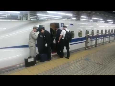 JR新大阪駅 JR東海 東海道新幹線 JR西日本 山陽新幹線 乗務員交代シーン 後部車掌 先頭部運転士  おまけ 27番線 立ち番の様子 乗降終了合図