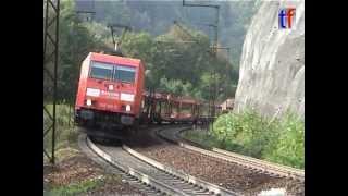preview picture of video 'BR185 & 225 &151 mit Güterzug auf der Geislinger Steige aufwärts, 20.09.2009.'