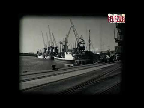 Je ziet hier de haven van Delfzijl in 1965. Er worden allerlei producten gelost
