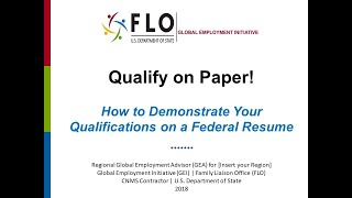 Qualify on Paper: How to Demonstrate Your Qualifications on a Federal Resume (Recorded on 2/7/2018)