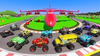 Race Crazy Cars Monster Trucks McQueen & Friends  Mater The King Miss Fritter Crazy Track 8