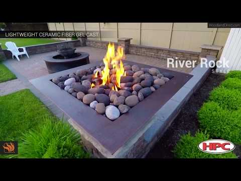 Copper Gas Fire Pit with River Rock by HPC