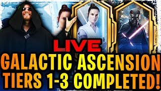 supreme leader kylo ren + rey galactic ascension event tiers 1 3 completed! worst event in swgoh?