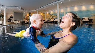 BABY SWIMMING LESSONS   Ultimate first lesson routine   17 month old Swimming in Pool