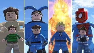 Sandman(Transformation),Mister Fantastic,HumanTorch,Spiderman - Lego Marvel Super Heroes Game