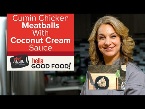 Healthy Chicken Meatballs & Coconut Cream