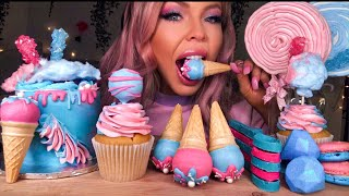 ASMR COTTON CANDY CAKE, ICE CREAM CAKE POPS, SPOONS, BOBA, JEWELS, MARSHMELLOW LOLLIPOP MUKBANG 먹방