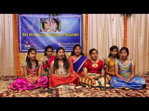 Children reciting Chapter 15 of Bhagwad Gita during a recital.