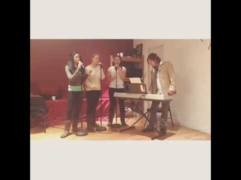 working the stacked 1-3-5 vocal harmony during a private group singing session