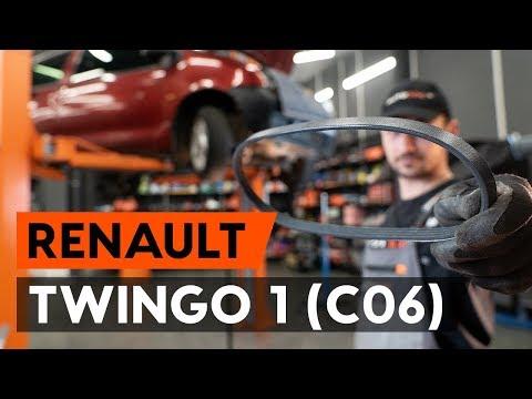 Фото к видео: Как заменить поликлиновый ремень двигателя RENAULT TWINGO 1 (C06)