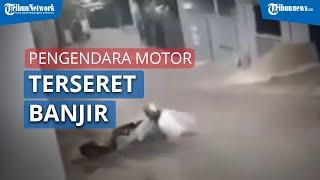 Video Pengendara Motor Terseret Banjir di Sukajadi Kota Bandung