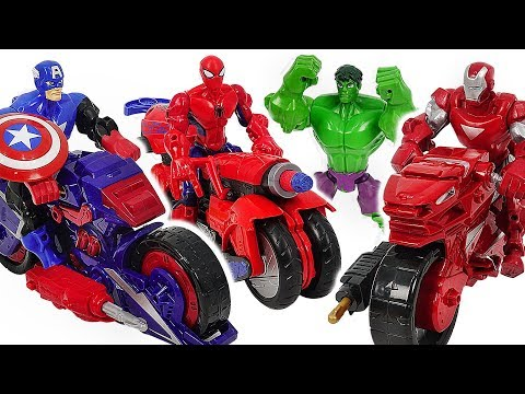 Marvel Avnegers Mashers Iron Man, Spider-Man transforming motocycle with Hulk! Go! #DuDuPopTOY