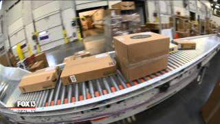 Behind the scenes of an Amazon warehouse