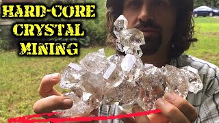 Digging Herkimer Diamond Quartz Crystals | Hardcore Mining! | Treasure Hunting!