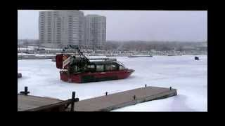 preview picture of video 'Fire and Rescue Barrie AirBoat Kempenfelt Bay Ontario Canada January 19 2010'