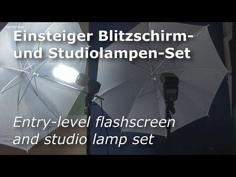 Einsteiger Blitzschirm und Studiolampen Set | Blitz-Stativ | Fotolicht | Studioset