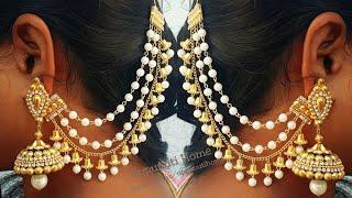 How Make Pearl Champaswaralu At Home   DIY   Bridal Jewelry Making   Side Ear Chains   Uppunutihome