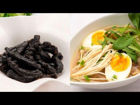 Calamares negros con alioli de azafrán - Ramen con setas - Cocina Abierta