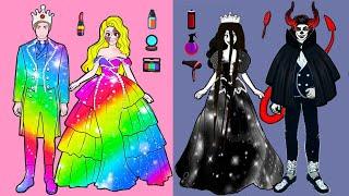 Paper Dolls Dress Up - Costume Honest Wife Beautiful Colorful Dress Handmade - Barbie Story & Crafts