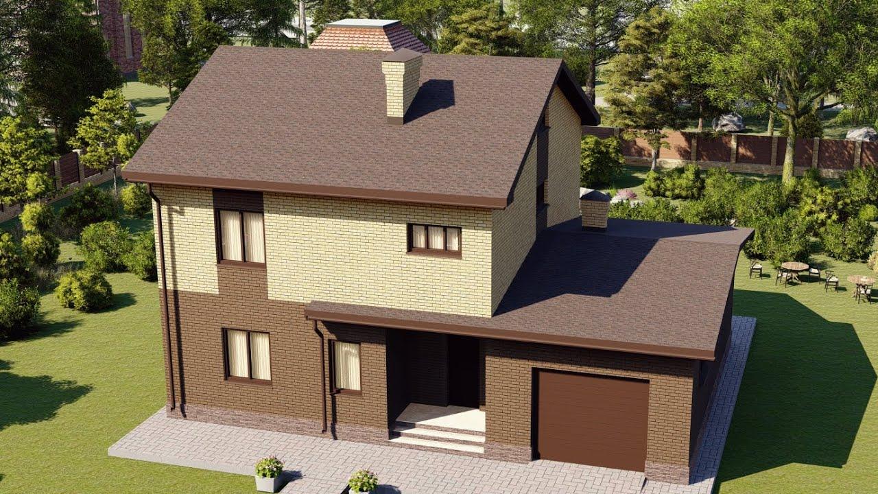 Проект загородного дома из газобетона с гаражом 163 м2