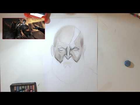 Speed Drawing Kratos (Com Fatos que vc n sabia !)