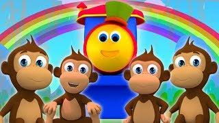 Боб пять маленьких обезьян   боб звериная песня   Bob Train Five Little Monkeys   Kids Tv Russia