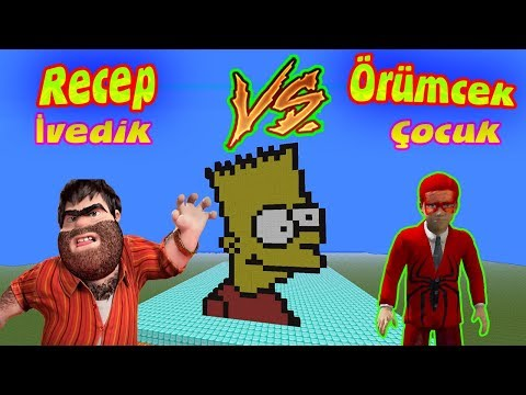 Örümcek Çocuk ve Recep İvedik  Minecraftta Bart Simpson Kafası Challenge Yapıyor
