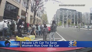 People Lift Car To Save Women Who Was Run Over