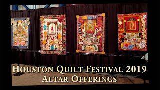 Luana Rubin presents the Altar Offerings quilts at the 2019 Houston Quilt Festival.