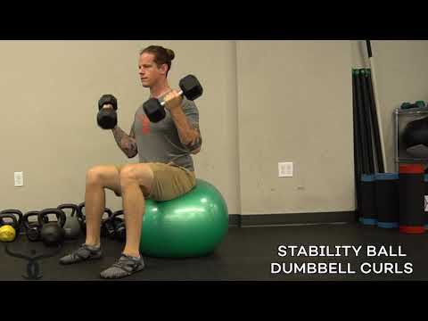 STABILITY BALL DUMBBELL CURLS