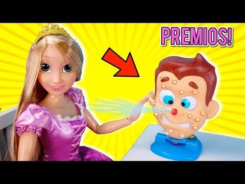 Rapunzel Juega Aprieta los Granos de Pimple Pete! Juego de Mesa Divertido  para niños