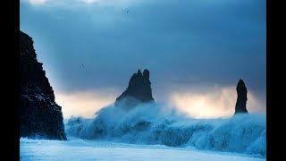 Dangerous world-famous Reynisfjara Black Sand Beach in Iceland