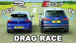 VW Golf R v Audi SQ7: DRAG RACE