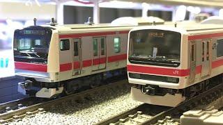 【鉄道模型】Nゲージ ポポンデッタ レンタルレイアウト 京葉線走行シーン 103系・201系・205系・209系500番台・E233系5000番台・209系2100番台