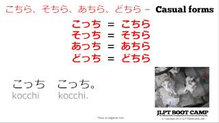 JLPT N5 Grammar - koko, soko, asoko, doko vs. kochira, sochira, achira, dochira
