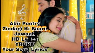 Abir's Poetry||Zindagi Ki Saare Jawaab||HD Lyrics   - YouTube