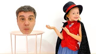 Stacy and dad show tricks for kids