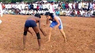 Village Girl Wrestling In Nizamabad | Boy Vs Girl Wrestling | Bezawada Media