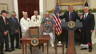 "WWII vet interrupts Donald Trump to sing ""Remember Pearl Harbor"""