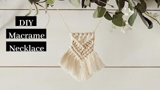 DIY Macrame Necklace Tutorial! Easy Macrame Project For Beginners!