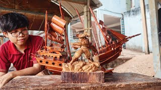 Wood Carving - One Piece : Mihawk Cutting The Ship In Half [ワンピース]