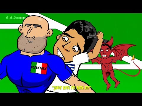 SUAREZ BITE on Chiellini - Italy v Uruguay by 442oons 0-1 (World Cup Cartoon 24.6.14)