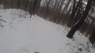 "Winter descent of ""Bushwhacker"" trail."