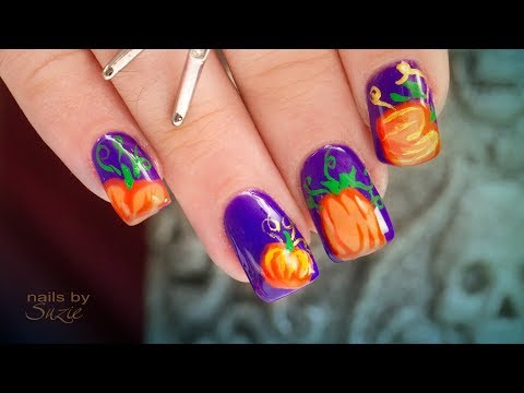 Grant and Suzie Hand-Paint Pumpkin Halloween Nail Art