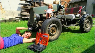 Giant Tractor is Broken! Baby needs help from mommy