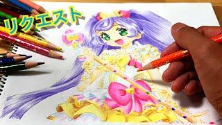 Laala Manaka  - (Pripara) - 【プリパラ】真中らぁら ぬりえ pripara Laala anime coloring page coloring book colored pencil